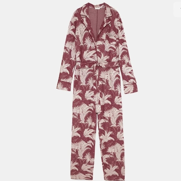 NWT ZARA SS18 REDS FLORAL JACQUARD JUMPSUIT WITH BELT 5039//013